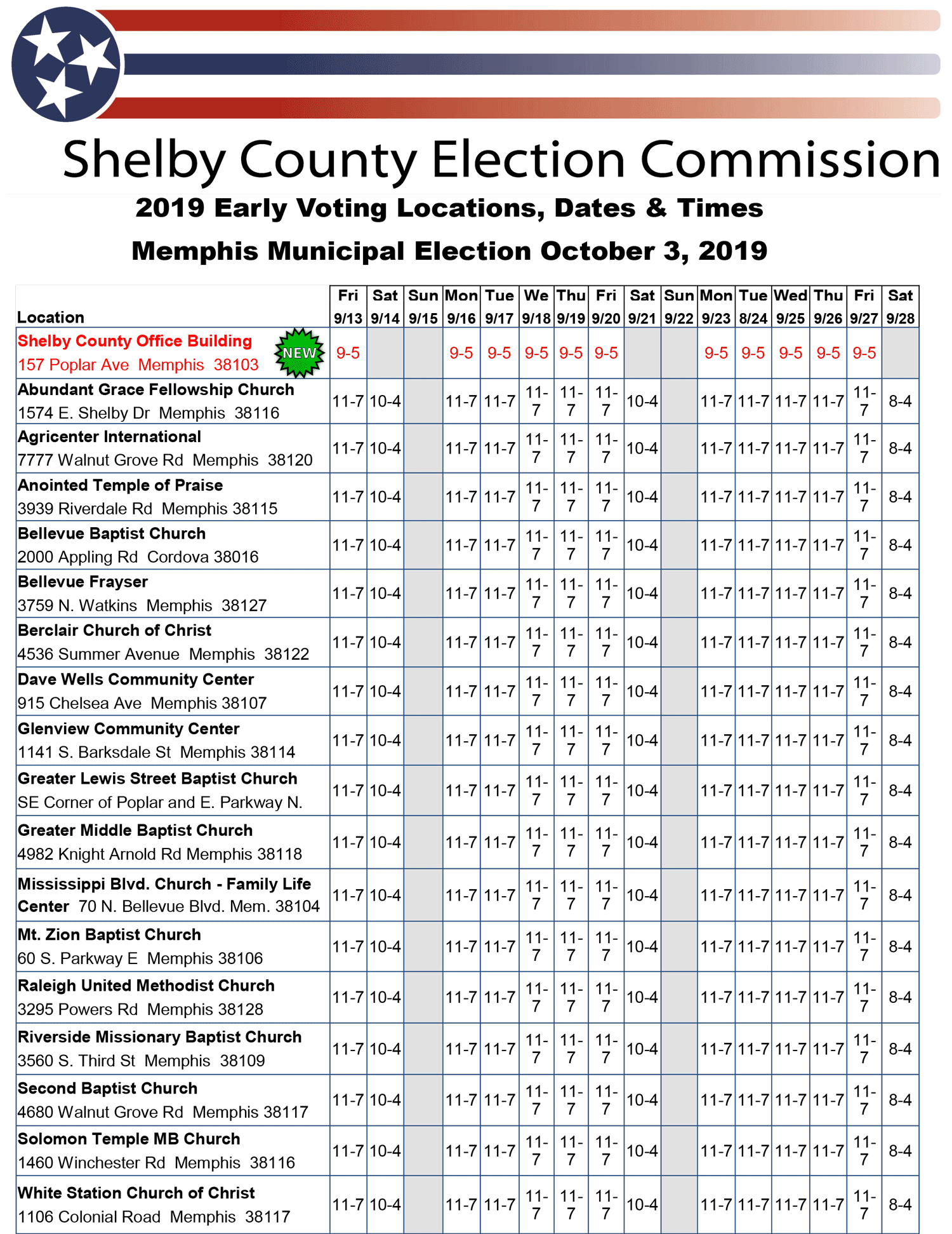 Shelby County Early Voting Schedule